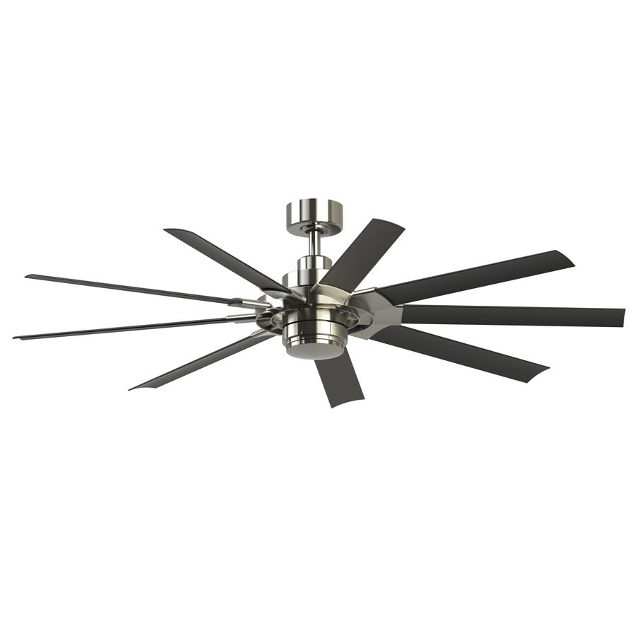 Fanimation Studio Collection Slinger V2 72 In Brushed Nickel Led Indoor Outdoor Ceiling Fan With Light Kit And Remote 9 Blade Lowes Com Shop Ceiling Fans Ceiling Fan With Light Ceiling Fan