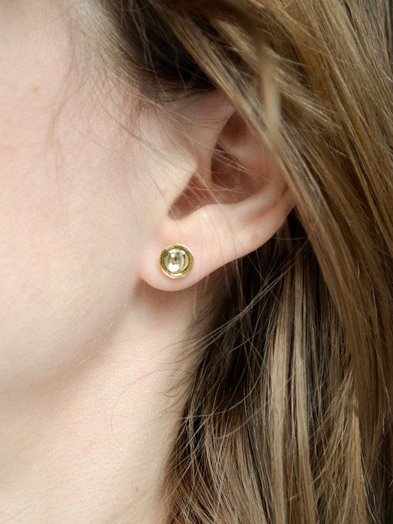 23b56f19e Gold Stud Earrings - Hemisphere Studs - Domed Second Hole or ...