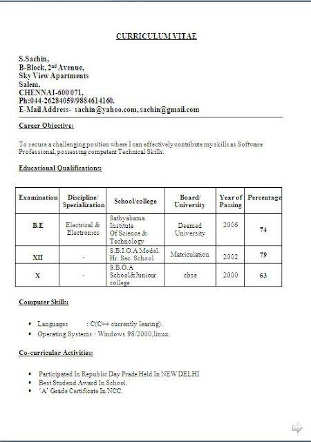best curriculum vitae sample free download Sample Template Example - curriculum vitae example