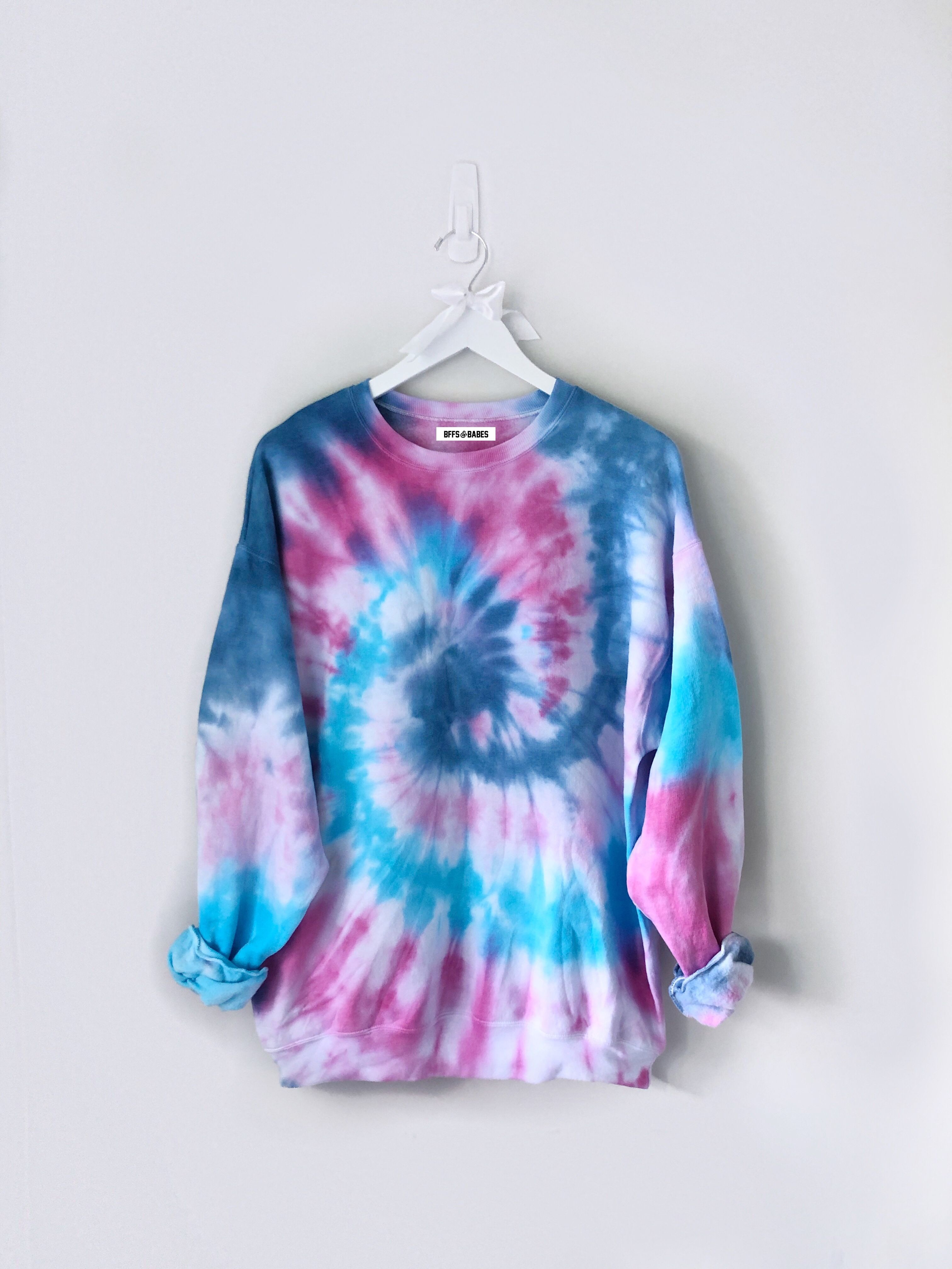 Shades Of Blue And Shades Of Pink Tie Dye Pullover Sweatshirt Tye Dye Shirts Tie Dye Outfits Tie Dye Fashion [ 4032 x 3024 Pixel ]