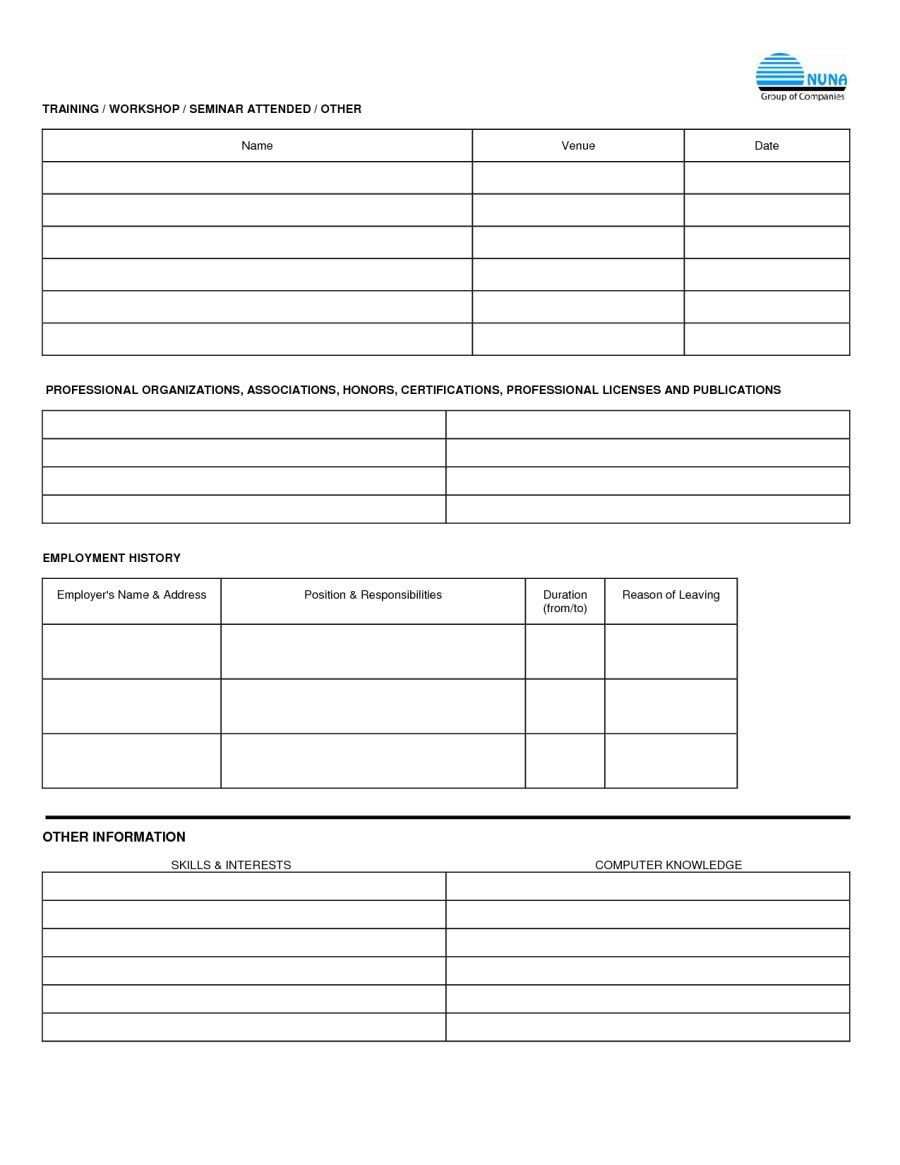 free employment applications to print | job application form sample
