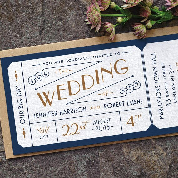 Formal Admission Ticket Wedding Invitation Just The Art Deco 1920s Invite Navy Blue Gold Custom Colours One Sample