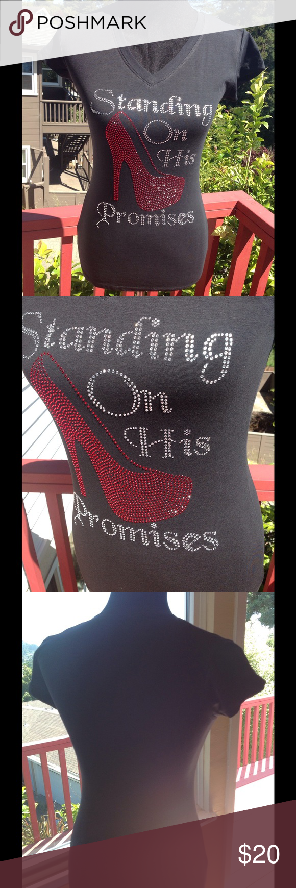 Standing on His Promises✝ Neck T-shirt ~ Reads standing on His promises because we are all standing on the promises of God! ~ this one is loaded up with custom bling $price$ firm Custom Ayankoya Tops Tees - Short Sleeve
