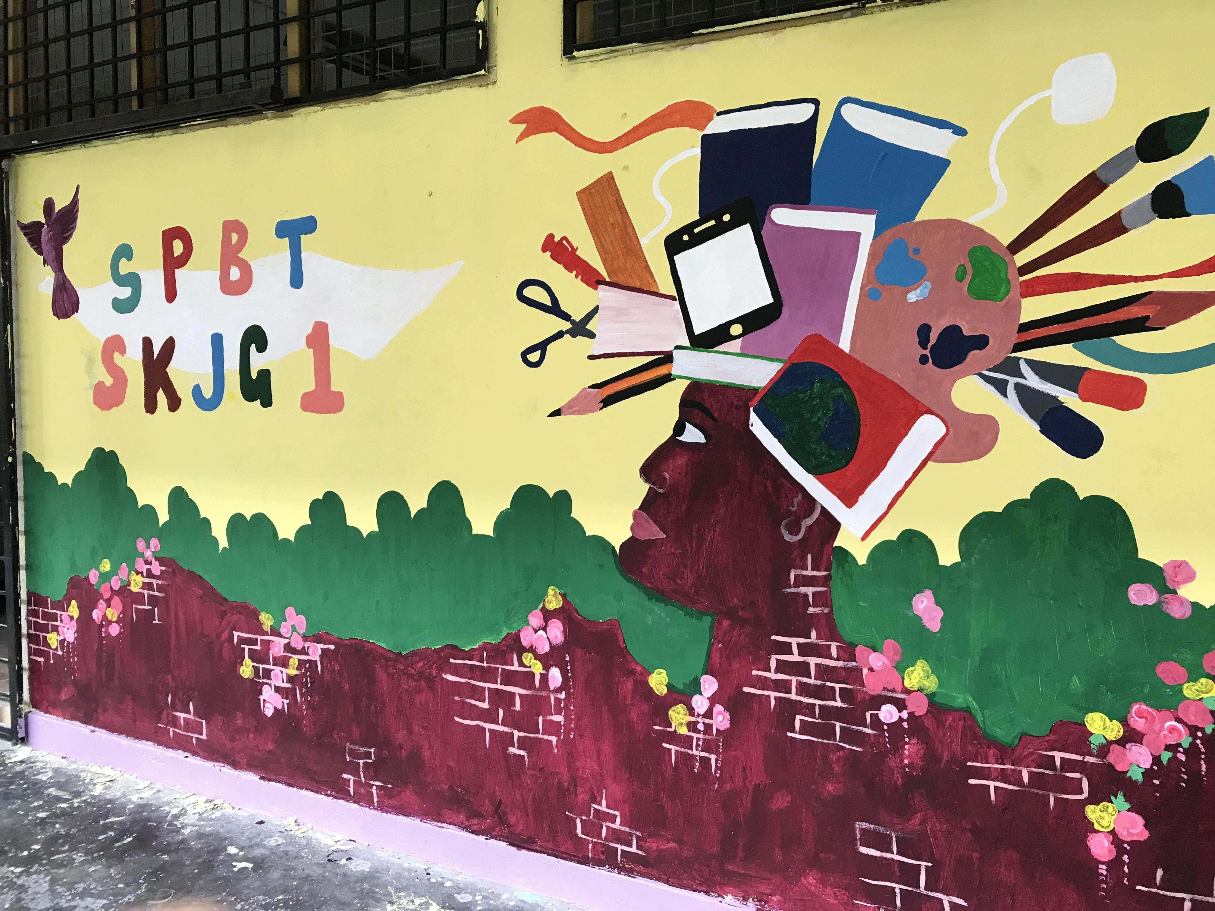 Bilik SPBT mural. Wall decoration. | Stage decoration ideas ...