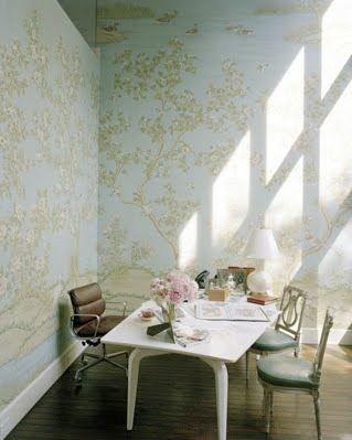 gracie handpainted wallpaper in office @gracieinc