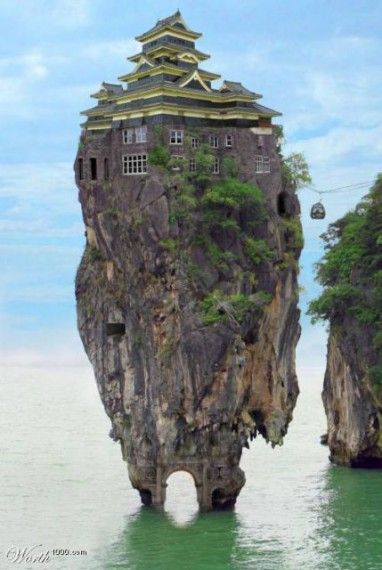 House On Top Of A Rock In The Ocean