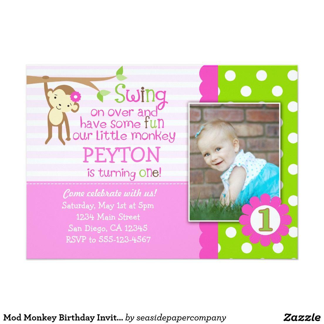 Mod Monkey Birthday Invitation For Girls Pink | Mod monkey birthday ...