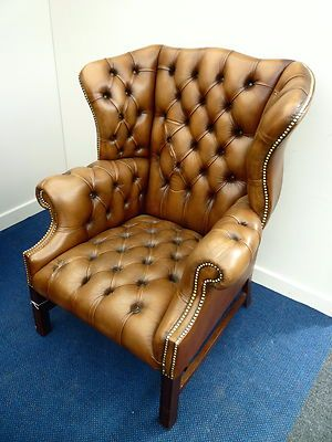 Peachy Brown Leather Queen Anne Wing Back Chesterfield Chair Creativecarmelina Interior Chair Design Creativecarmelinacom