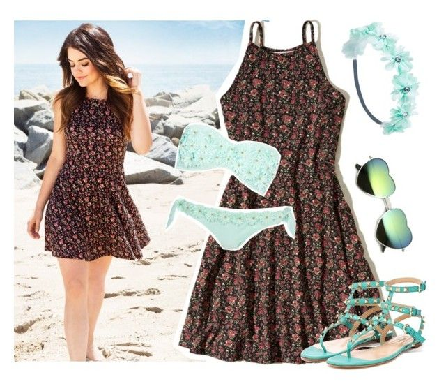 """""""Myriam - Beach"""" by monique-grace ❤ liked on Polyvore featuring Hollister Co., Wet Seal, River Island, Valentino and beachstyle"""