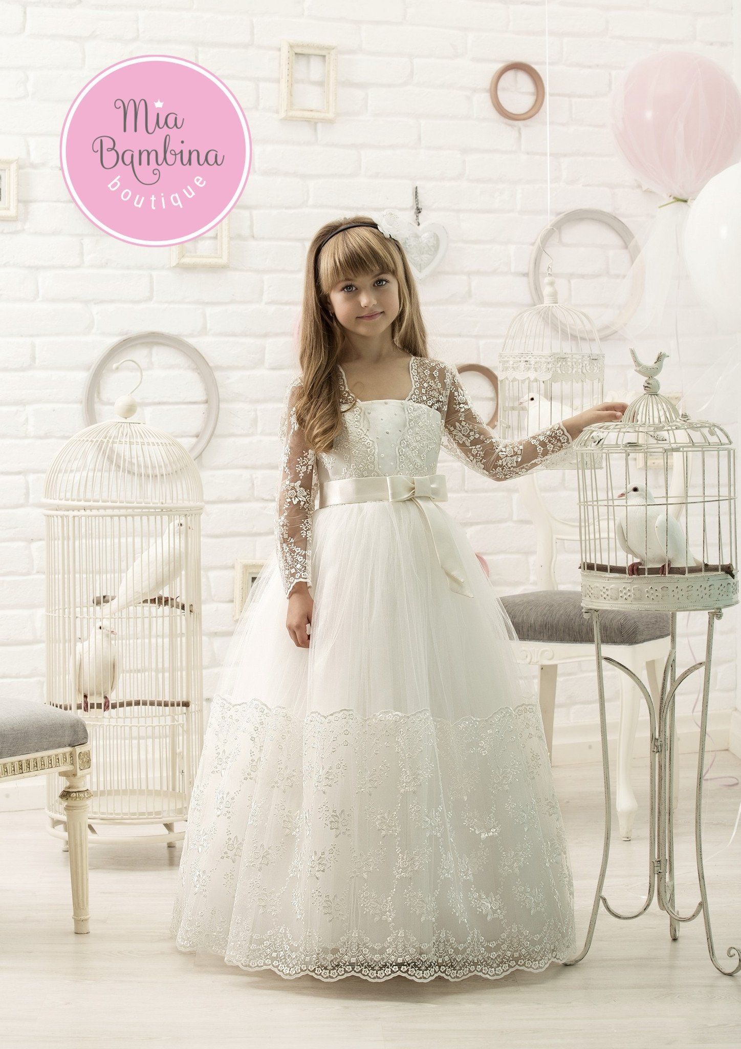Christina first communion dress with lace hem and long lace