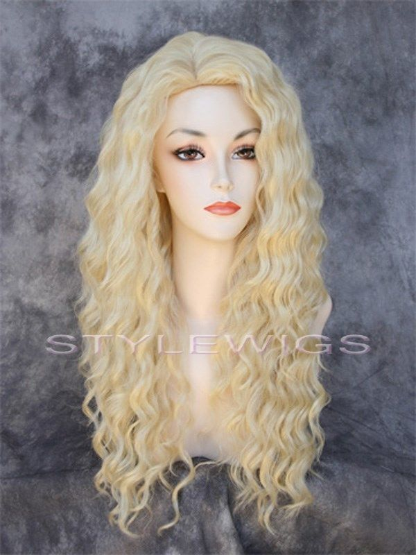 Long Spiral Curls Human Hair Blend Curly Heat Safe Wig in Pale Blonde SABR 613 #FullWig