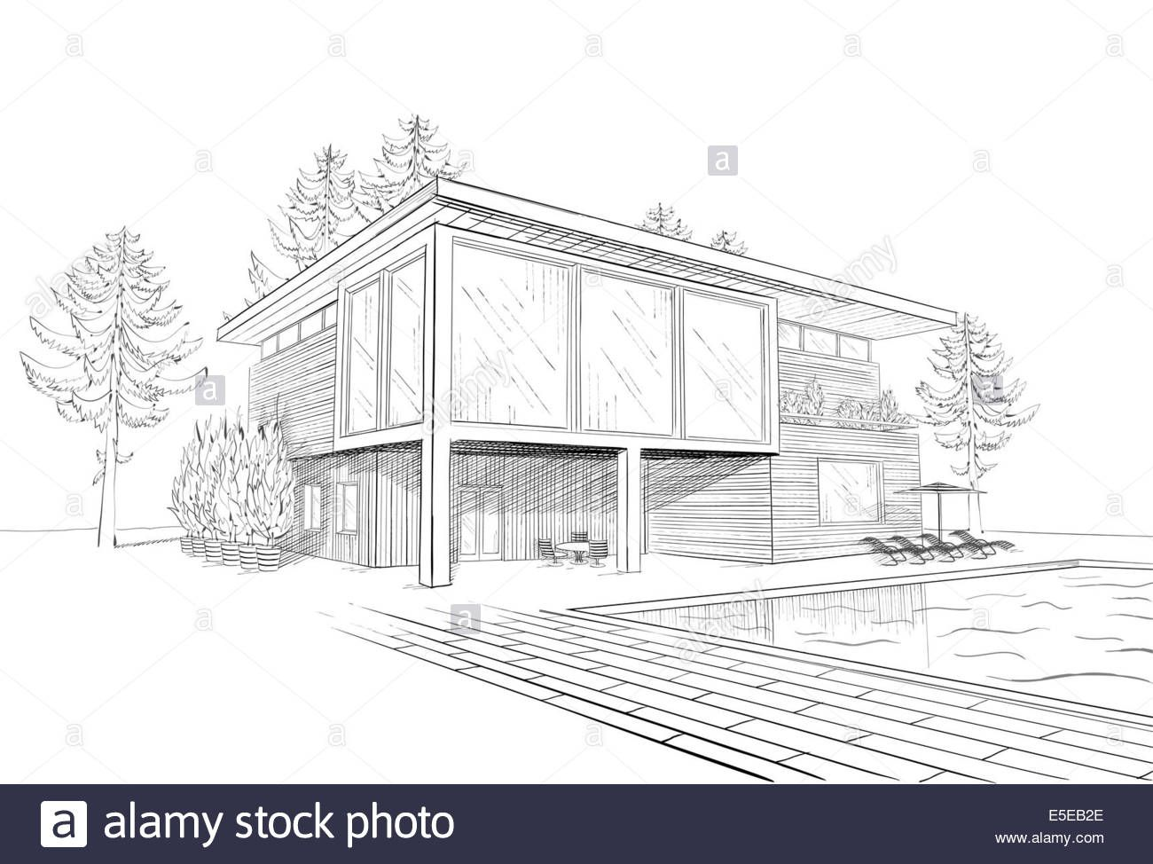 Image Result For Pencil Sketch Water Pool House Design Drawing Dream House Sketch Swimming Pool Art