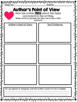 author 39 s point of view graphic organizers authors and literacy. Black Bedroom Furniture Sets. Home Design Ideas