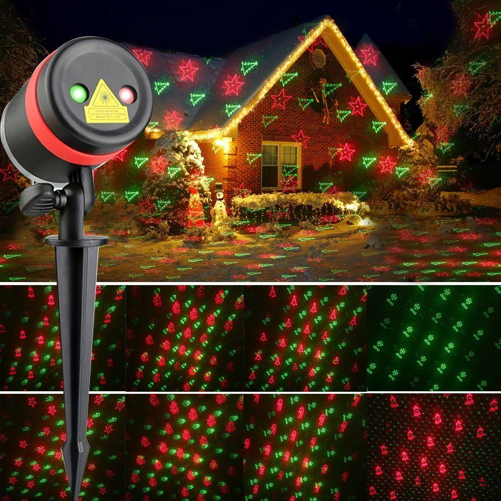 Laser Halloween Christmas Lights Red and Green Moving