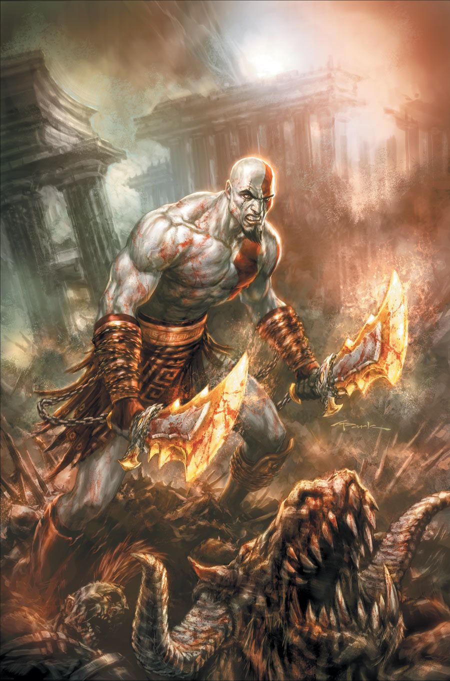 God Of War 1 Artist Andy Park Warriors Kratos God Of