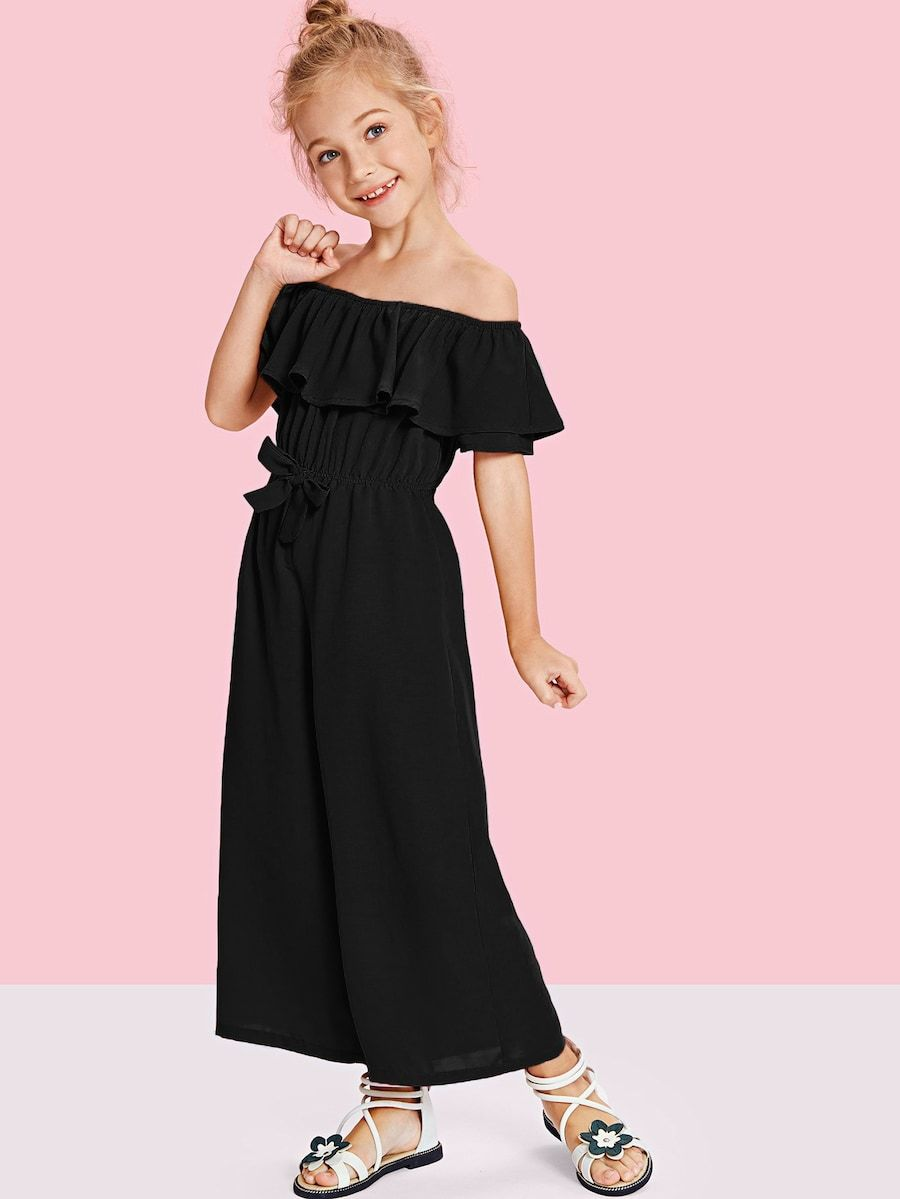 023f226cb Girls Off Shoulder Waist Drawstring Flounce Jumpsuit -SheIn(Sheinside)