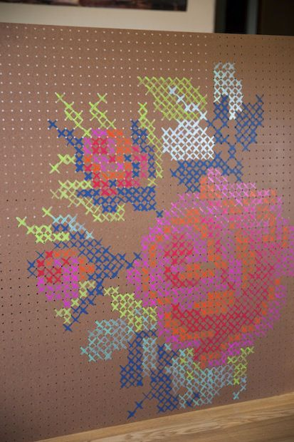 How To Painted Cross Stitch Pegboard Diy Cross Stitch Diy Cross Cross Stitch Art