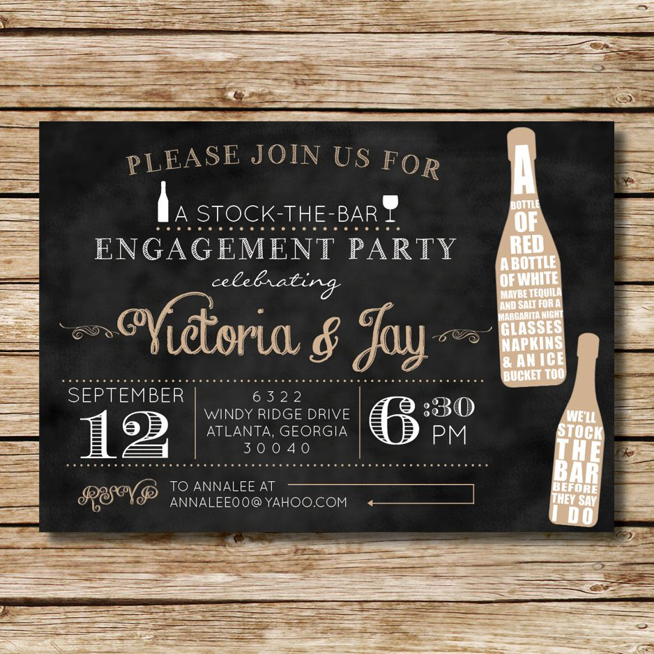 Stock the Bar Engagement Shower Invitation, perfect for a couples ...