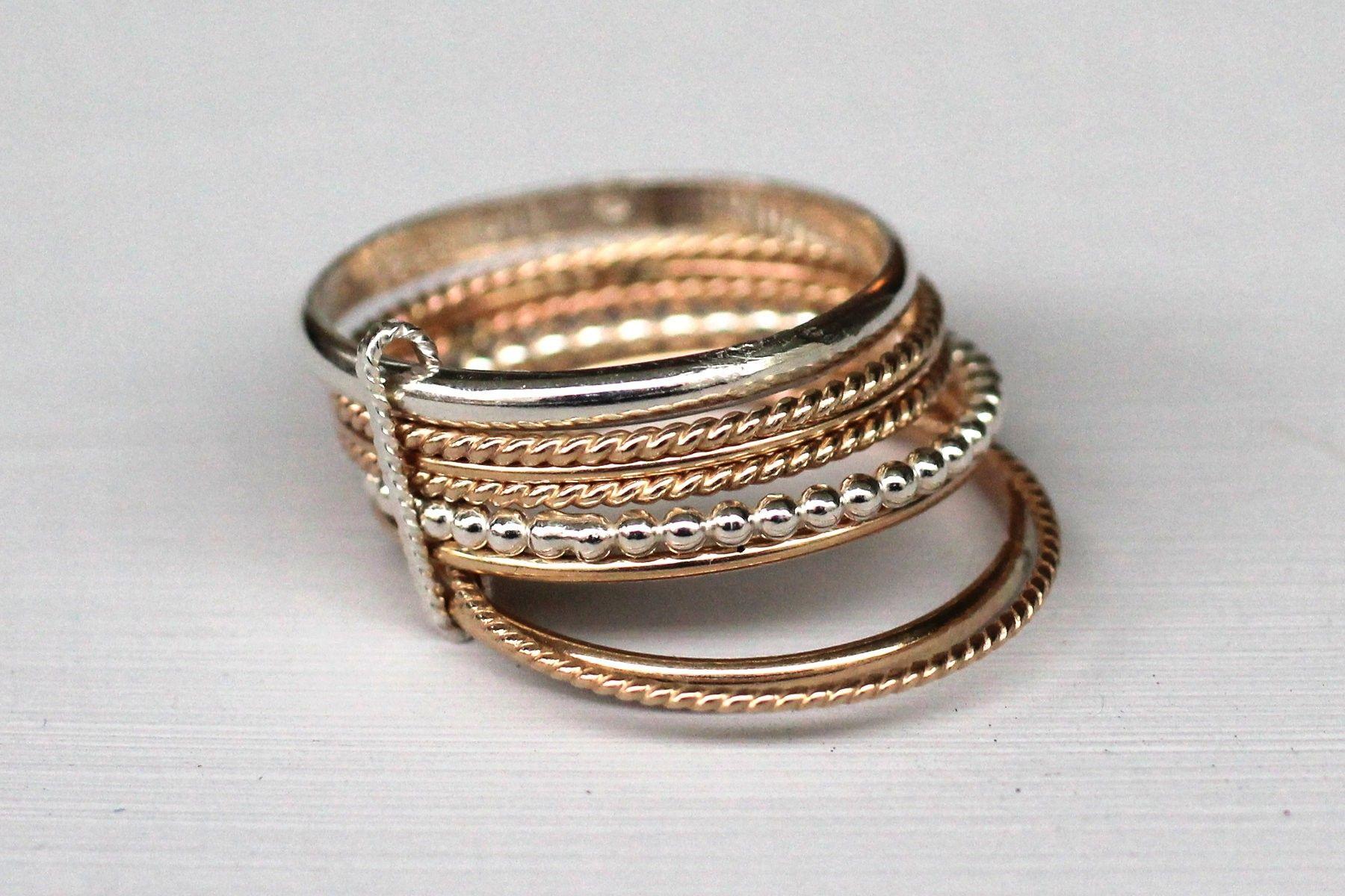 bague en argent plusieurs anneaux