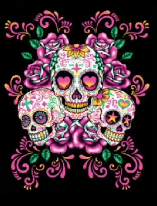 Pink Sugar Skulls Beautiful Skulls Candy Skulls Sugar Skull Art