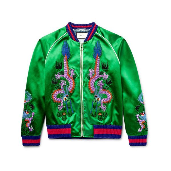 cae9ac769 GUCCI Reversible Webbing-Trimmed Satin-Twill Bomber Jacket ❤ liked ...