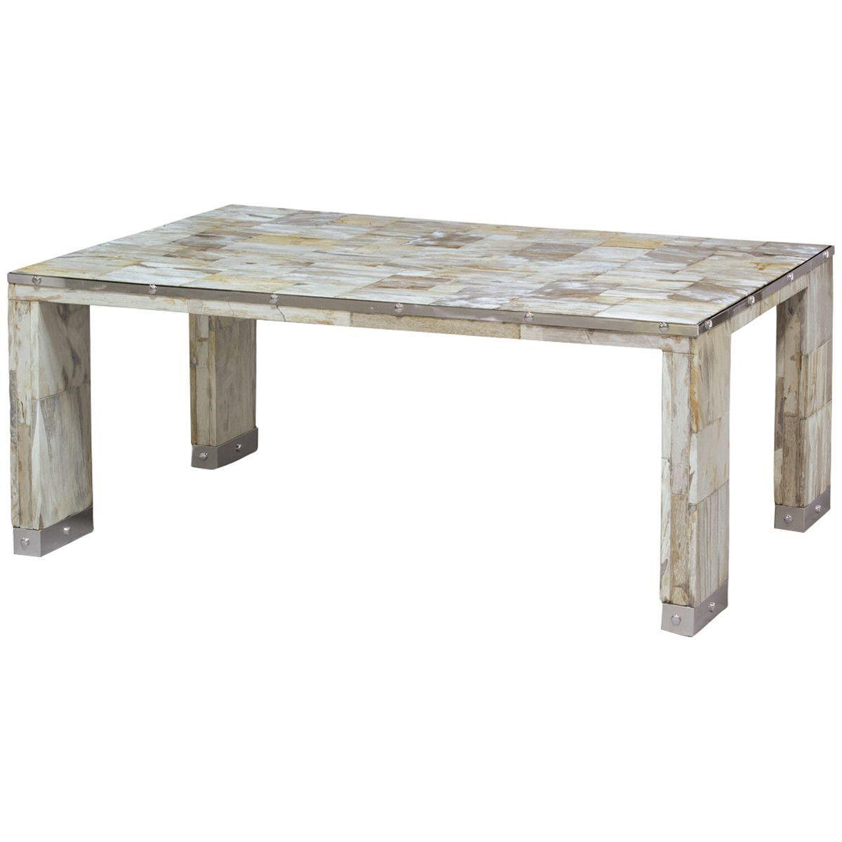 Palecek Maxwell Petrified Wood Coffee Table