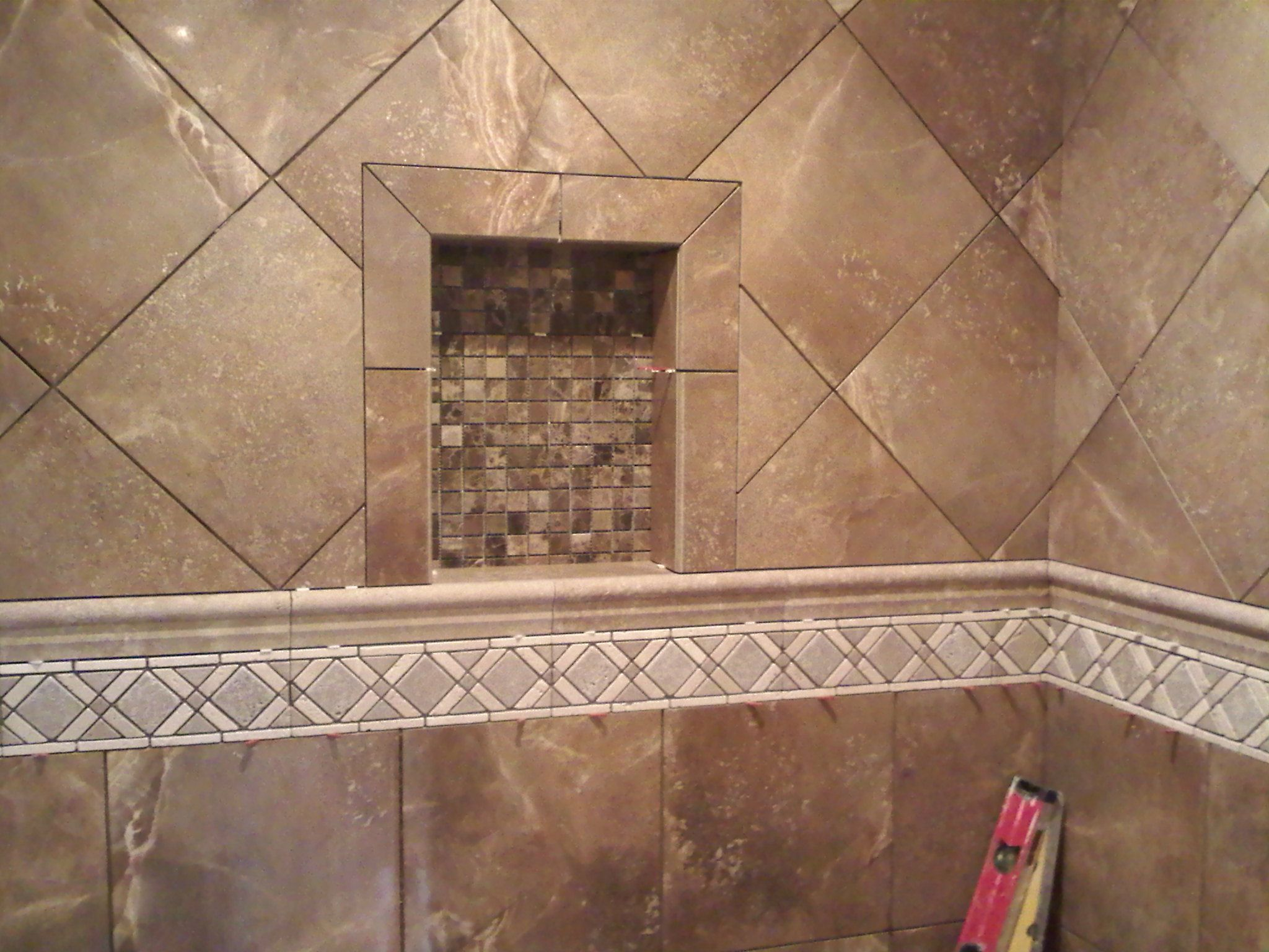 Porcelain tile with travertine decorative band. | Custom Tile ...