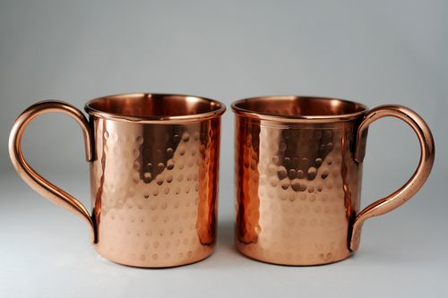 Pure Copper Hammered mugs - set of 2 - 14 oz