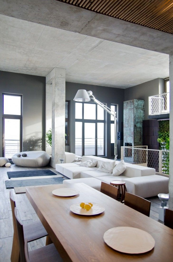 INTERIORS :: Loft Living, Lovely Exposed Concrete Walls Paired With Wide  Plank