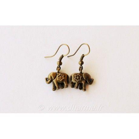 Boucles d'oreilles éléphant fleur
