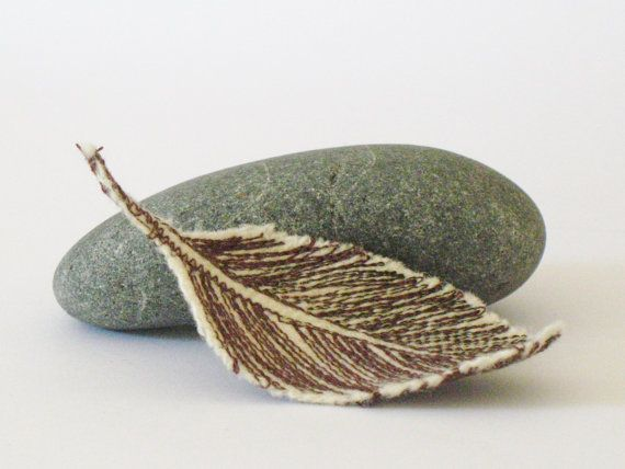 Feather brooch  recycled wool by IfeelNatty on Etsy, $9.00