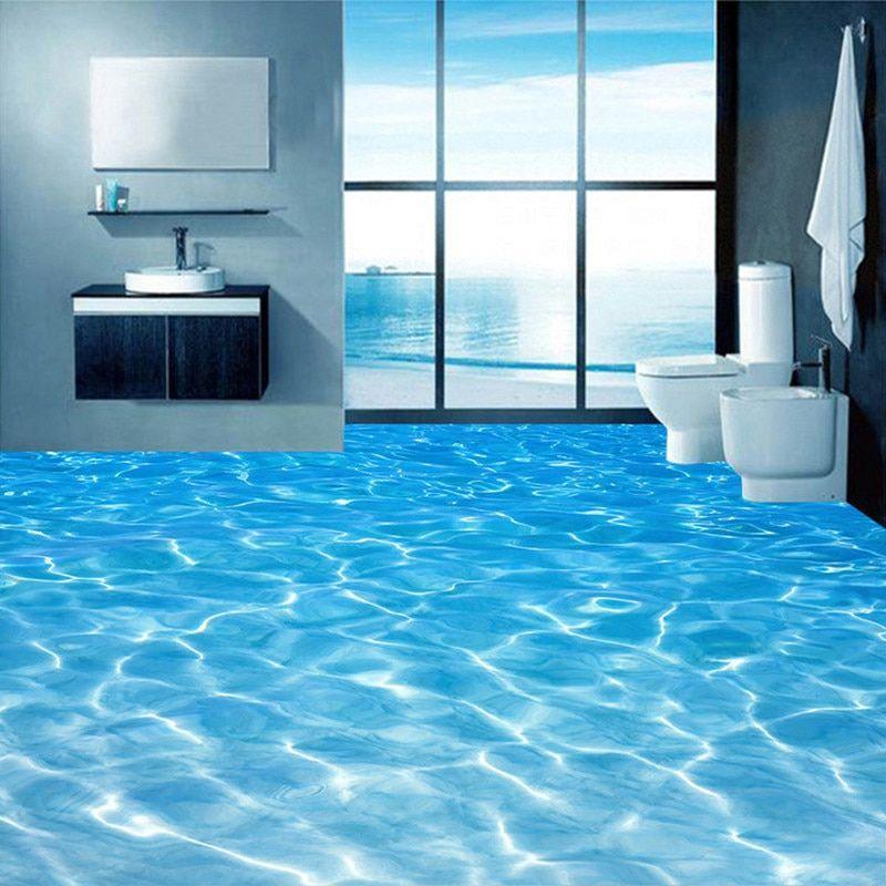 Nach 3d Boden Wandmalereien Tapete Meer Wasser Oberflache Welligkeit Foto Tapete Pvc Wasserdichte Bad Boden Aufkleb Badezimmer Boden Tapeten Wandbilder Tapeten