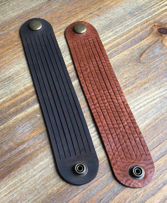 Photo of Items similar to Bourbon Slit Leather Bracelet, Leather Bracelet, Leather Cuff, Leather Jewelry on Etsy