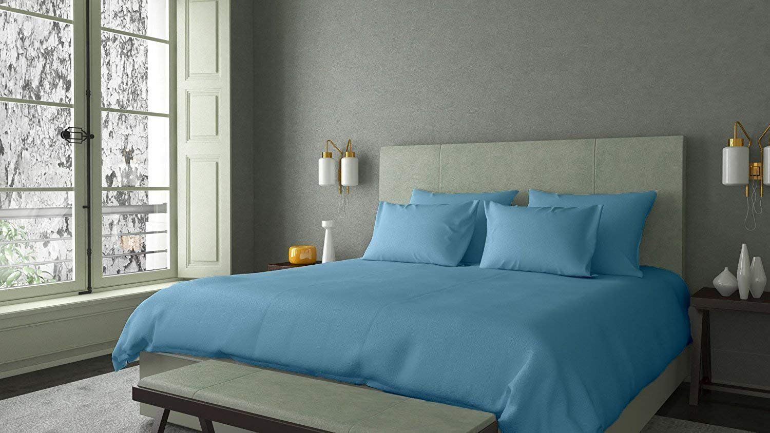 Heavy Fabric 1500 Thread Count 4piece Bed Sheet Set Egyptian Cotton Fits 1012 Inch Deep Pocket Solid Pattern Cal Bed Sheet Sets Blue Sheet Sets White Sheet Set