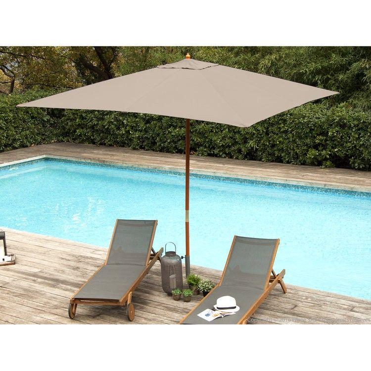 Parasol Droit Carre 290x290 Cm En Bois Et Polyester Taupe Domen Comment Amenager Une Terrasse En 2019 Patio Outdoor Et Home Decor