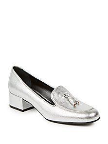 fdca9947f Saint Laurent - Metallic Leather Loafers