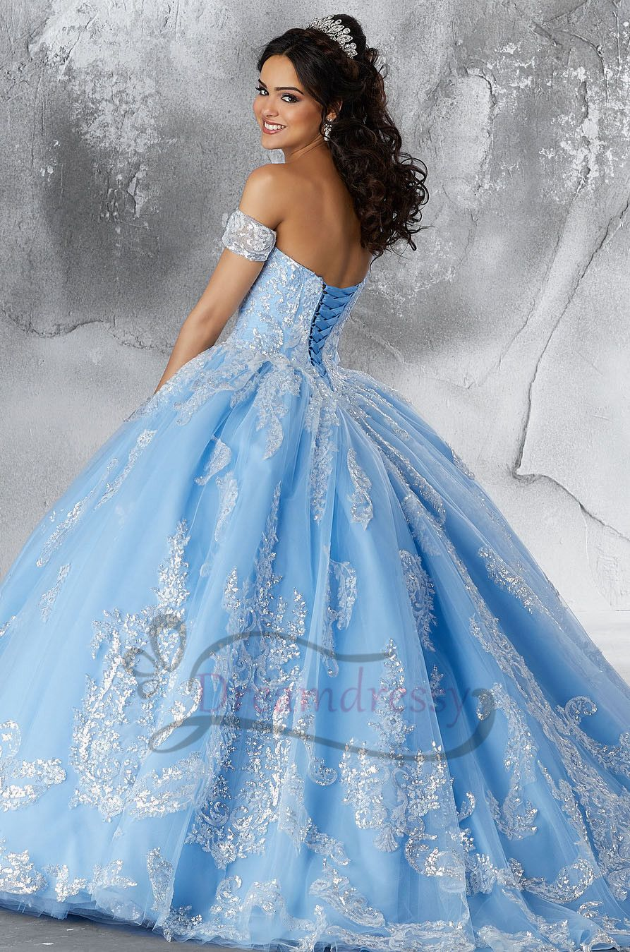 Quinceanera Dress with Silver Appliques