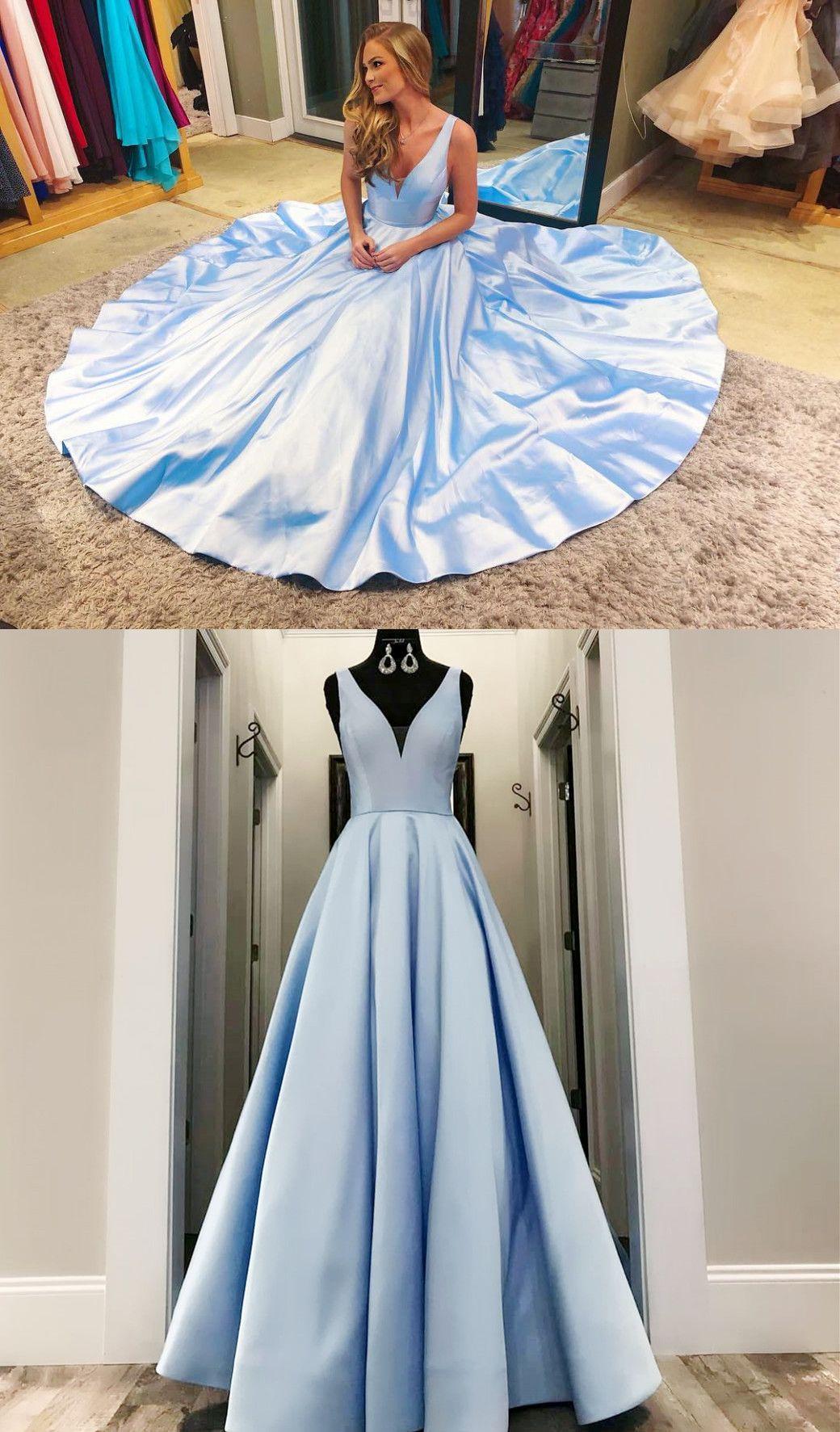 Princess V-Neck Yellow Long Prom Dress  Ballkleid, Abschlussball