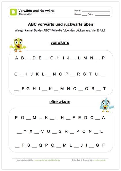 NEU: Deutsch - ABC: Die Schüler sollen die fehlenden Buchstaben im ...