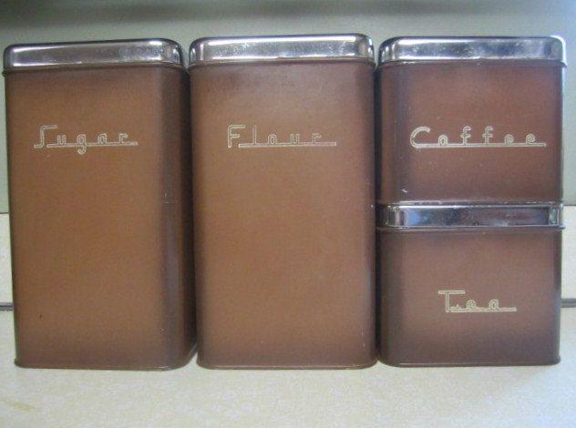 vintage chrome or metal canister set retro brown flour tea