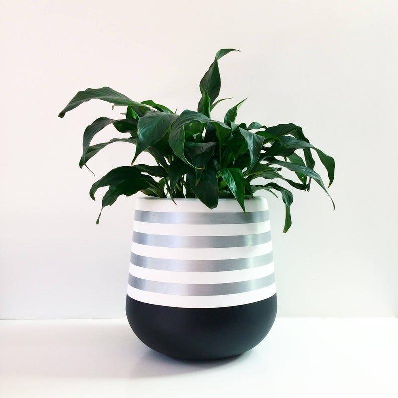 Handpainted lightweight indoor plant pot black white