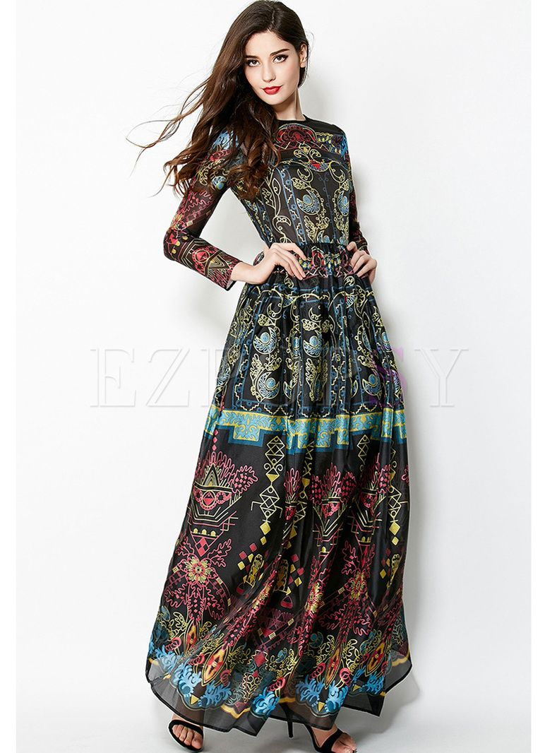 5ae5febf37d0 Shop for high quality Vintage Floral Print Big Hem Waist Maxi Dress online  at cheap prices and discover fashion at Ezpopsy.com