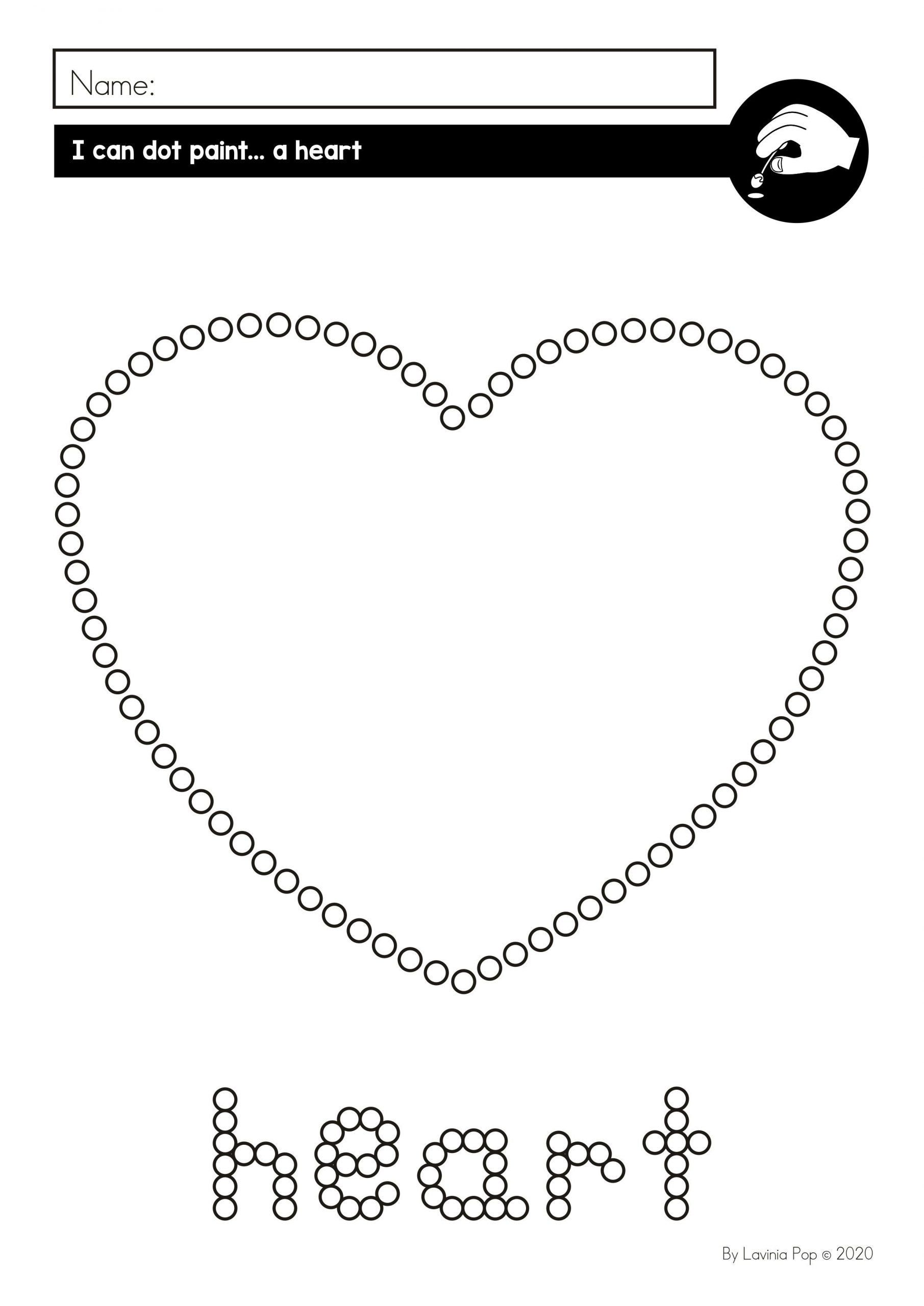 Heart Worksheet For Preschool Fine Motor Printable