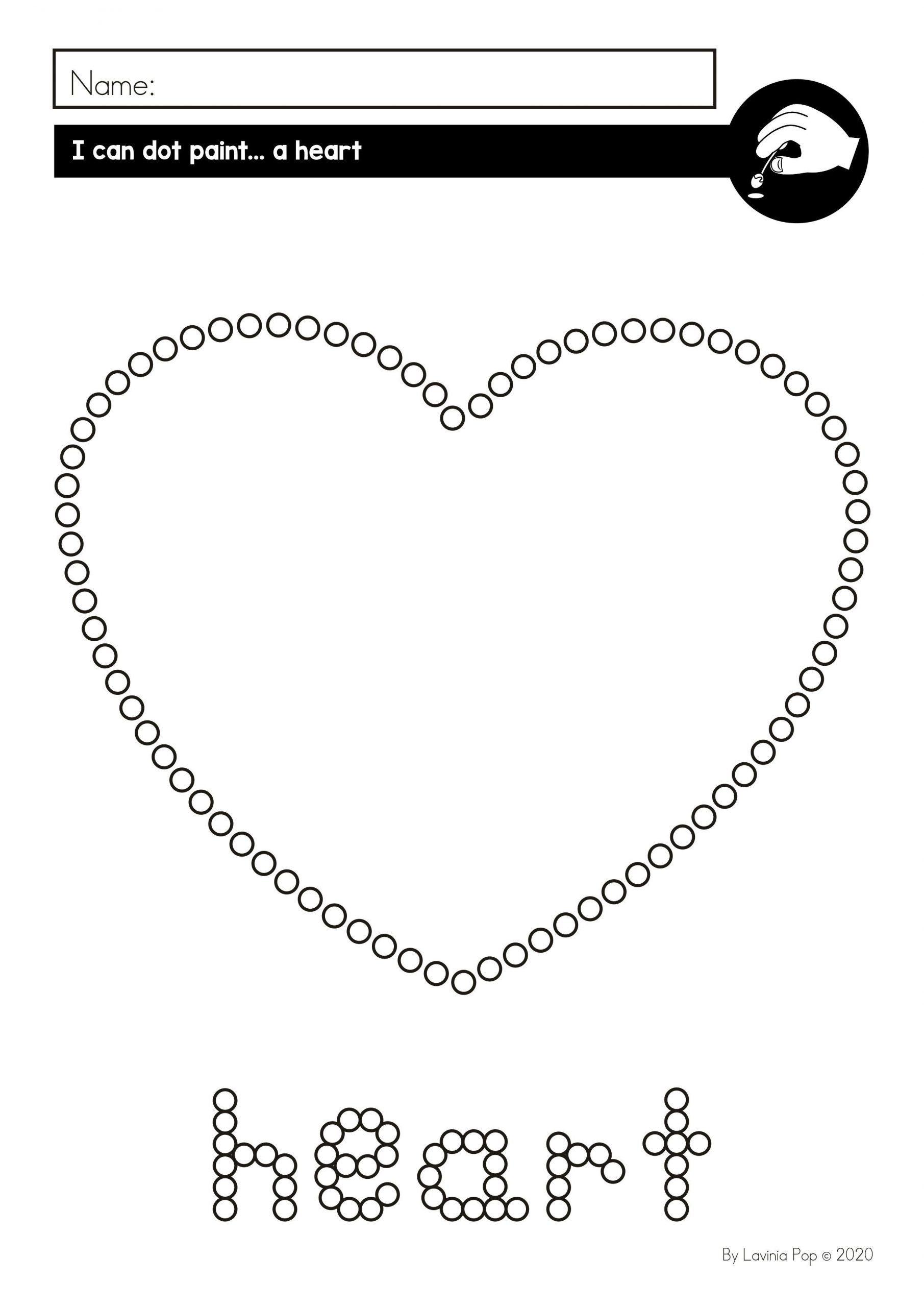 Heart Worksheet For Preschool Fine Motor Printable