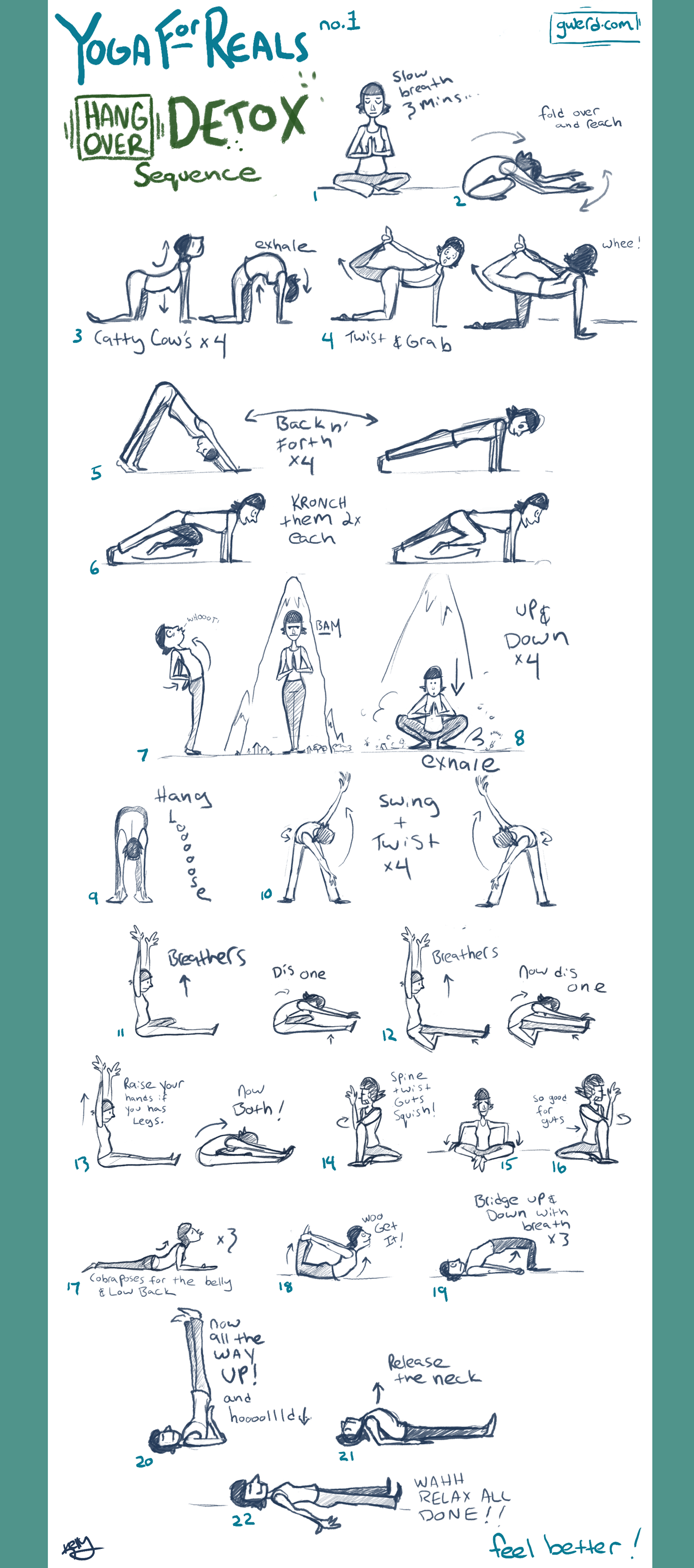 Yoga Hangover Detox Sequence Do These Slow 1 2 Mins Each