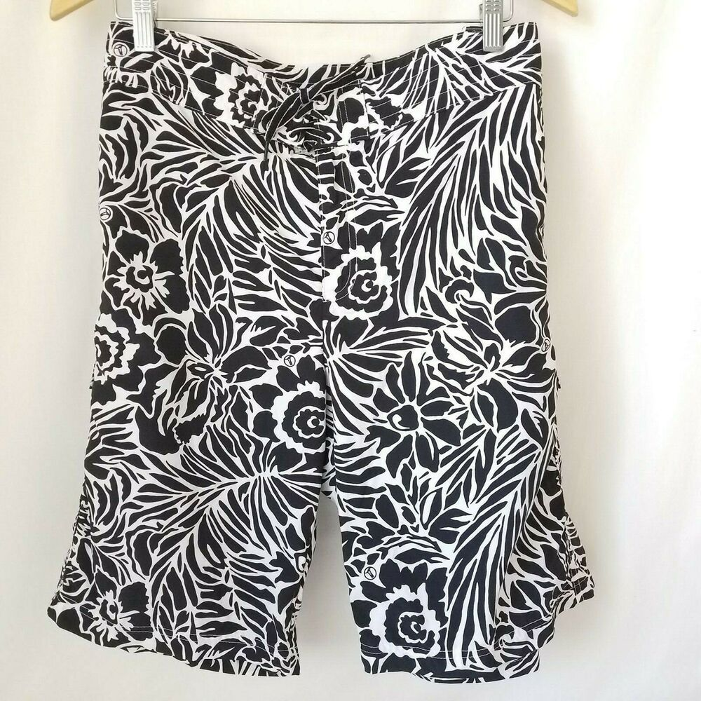 12e2d21079 Lands' End Women's Swim Board Shorts Size 18 Black and White with Pockets  #LandsEnd