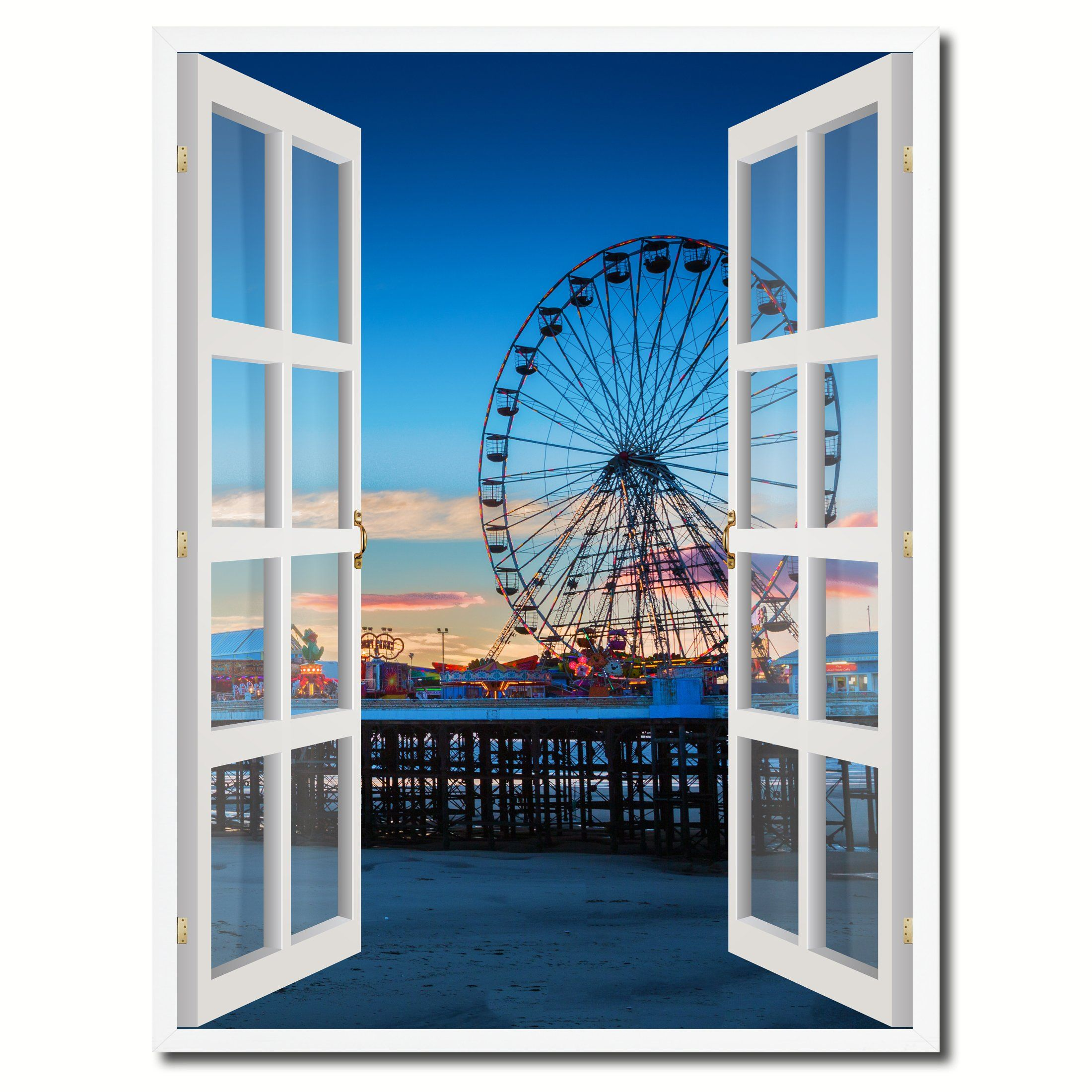 Sunset View Ferris Wheel Picture French Window Canvas Print with ...