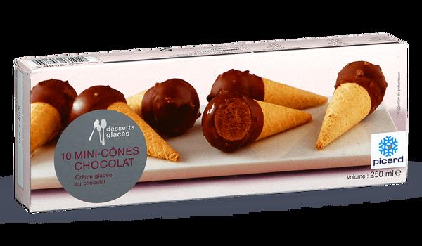 10 Mini Cones Chocolat Surgeles Picard Creme Glacee Au Chocolat Chocolat Enrobe De Chocolat