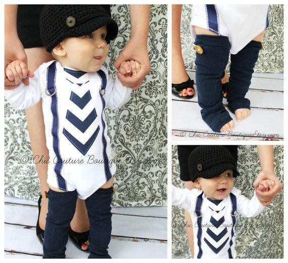 d688ad1b0 Baby Boy Tie and Suspenders Bodysuit   Leg Warmers SET Navy Blue ...