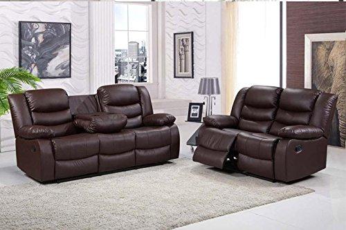 Furniturestop Co Uk Romano 3 Seater Sofa Recliner Bonded Leather Brown Amazon Co Uk Kitchen Home In 2020 Reclining Sofa Sofa Set Sofa Decor